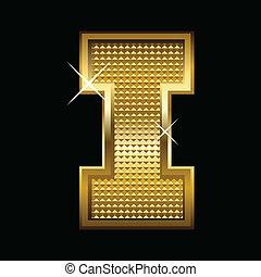 Golden font type letter I