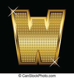 Golden font type letter W
