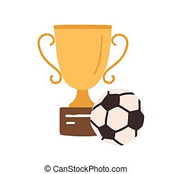 Golden football cup with soccer ball. Gold goblet on podium. Champion's trophy for first place. Winner s prize for victory. Colored flat vector illustration isolated on white background