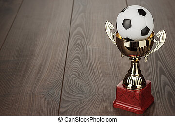 golden football trophy cup