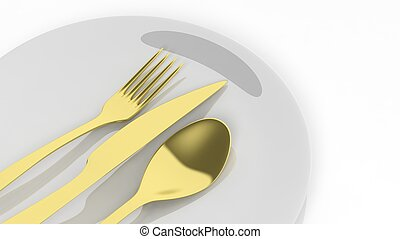 Golden fork, spoon and knife with a plate, isolated on white...