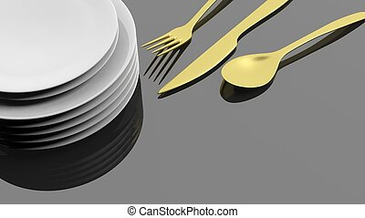 Golden fork, spoon and knife with a stack of plates, isolated on black background.