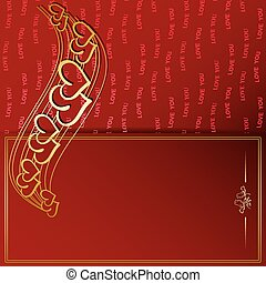 golden frame and decorative gold hearts on red background - vector valentine card