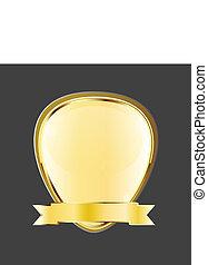 Golden frame emblem ribbon logo - Golden frame emblem with...