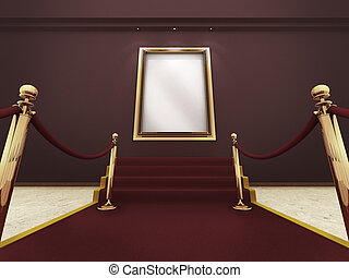 Golden frame in a Grand Gal - Red carpet leading up to the...