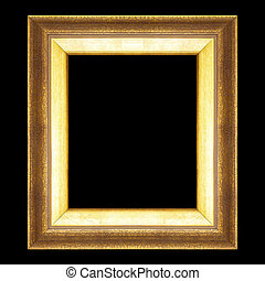golden  frame isolated on black background