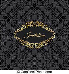 Golden frame on black invitation