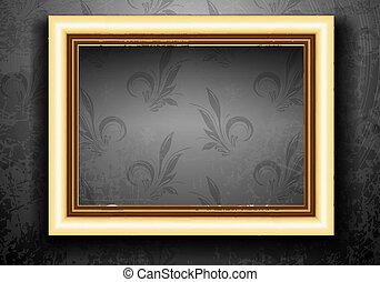 Golden Frame on Grunge Wall with Vintage Wallpaper