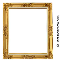 golden frame on isolated white background with clipping path.