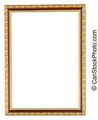 golden frame on isolated white with clipping path.