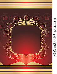 Golden frame on the red background