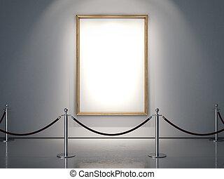 Golden frame on the white wall. 3d rendering