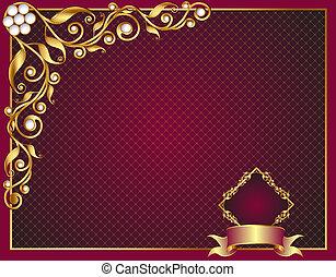 gold(en), frame, ornament, parel, achtergrond, groente