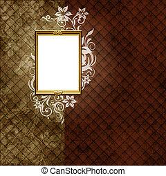 Golden frame over vintage striped wallpaper