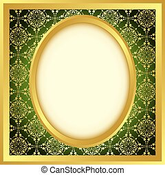golden frame with bright pattern - vector