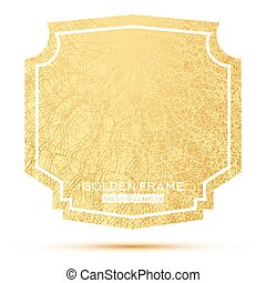 Golden Frame with Copy Space Isolated on White Background.
