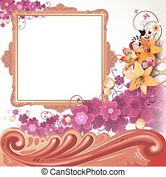 Golden frame with flowers