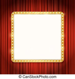golden frame with light bulbs on red curtains background. vector design template