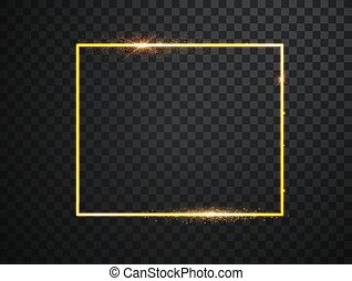 Golden frame with lights effects. Shining rectangle banner. Isolated on black transparent background. Vector illustration, eps 10.