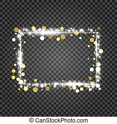 Golden frame with lights effects. Shining rectangle banner on checkered background