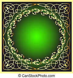 gold(en) frame with pattern on circle