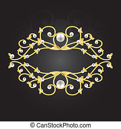 golden frame with pearls on black background