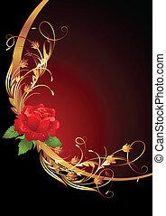 Golden frame with rose