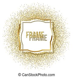 Golden frame with shadow and golden glitter isolated on white background. Vector golden luxury frame.