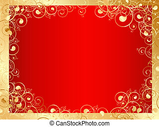golden frame with swirls and red space