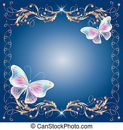 Floral golden frame with transparent magic butterflies