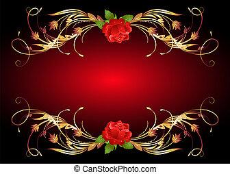 Golden frame wth rose - Red rose with golden ornament