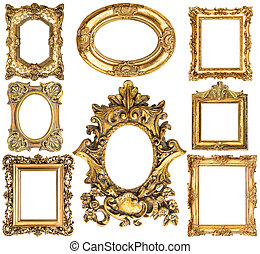 Golden frames. Baroque style antique objects. Vintage collection. Scrapbook elements