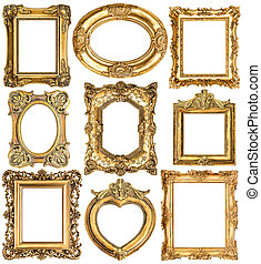 Golden frames. Baroque style antique objects