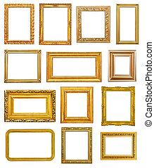 Golden frames on white background