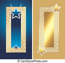 Golden frames with shining stars