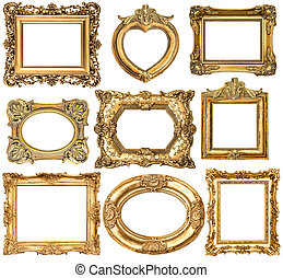 Golden frames without shadows isolated on white background