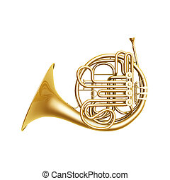 french horn - golden french horn isolated on white...
