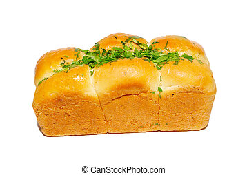 Golden fresh bread with greens isolated on white.