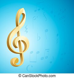 golden g clef musical key and notes over blue background. vector
