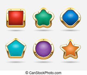 Golden game buttons isolated on white background. Vector candy button frames in shapes of square, circle and star