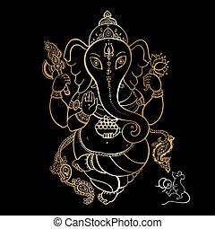 Golden Ganapati Meditation in lotus pose - Hindu God...