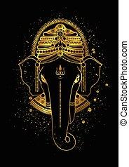 Golden Ganesha vector