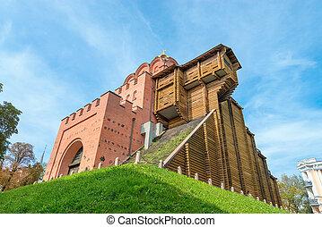 Golden gate archaeological monument in Kiev, Ukraine