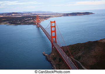 golden gate bridge aerial view