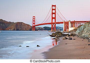 Golden Gate Bridge after sunset, San Francisco