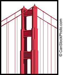 Golden Gate Bridge Art isolated on a white background.
