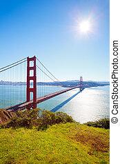 Golden Gate Bridge at sunny day, Sun Francisco