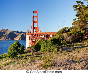 Golden Gate Bridge at sunset, San Francisco