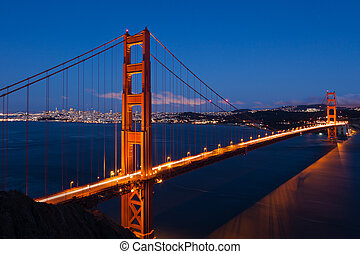 Golden Gate bridge by night in San Francisco - USA