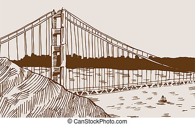 Golden Gate Bridge Drawing in shades of brown hand drawn...